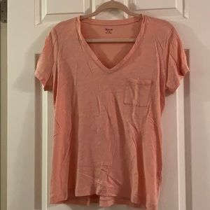 Madewell Peach V Neck Tee Size Medium